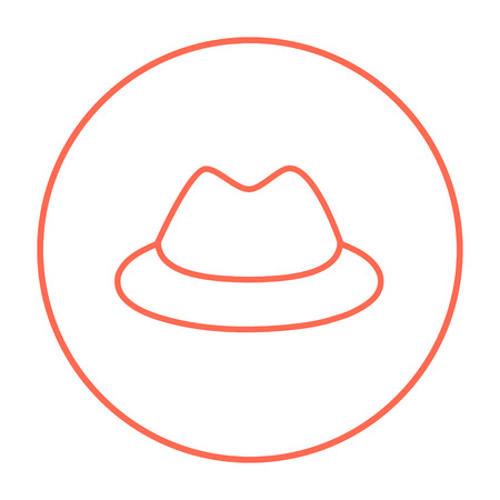 rimmed: Classic hat line icon for web, mobile and infographics. Vector red thin line icon in the circle isolated on white background.