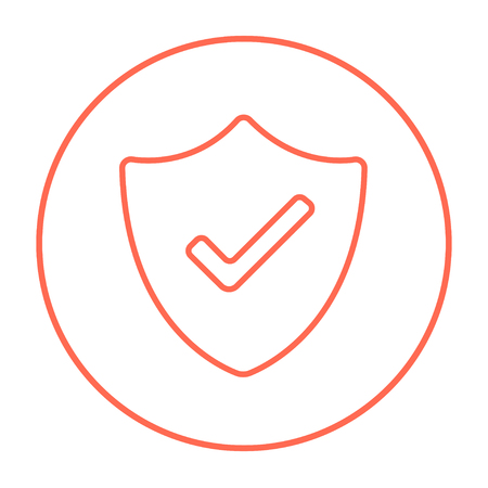 confirmed: Quality is confirmed sign line icon for web, mobile and infographics. Vector red thin line icon in the circle isolated on white background. Illustration