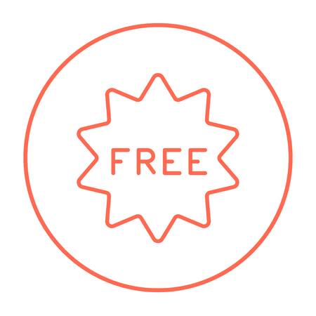 freebie: Free tag line icon for web, mobile and infographics. Vector red thin line icon in the circle isolated on white background. Illustration