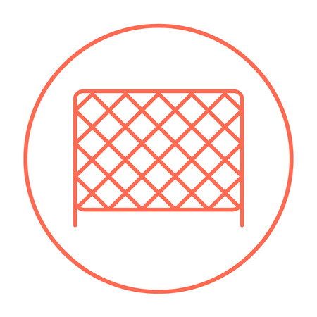 Sports nets line icon for web, mobile and infographics. Vector red thin line icon in the circle isolated on white background.