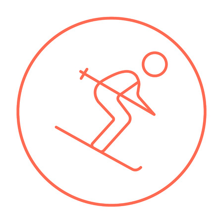downhill skiing: Downhill skiing line icon for web, mobile and infographics. Vector red thin line icon in the circle isolated on white background. Illustration
