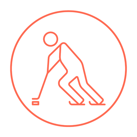 Hockey player line icon for web, mobile and infographics. Vector red thin line icon in the circle isolated on white background. Banco de Imagens - 53708191