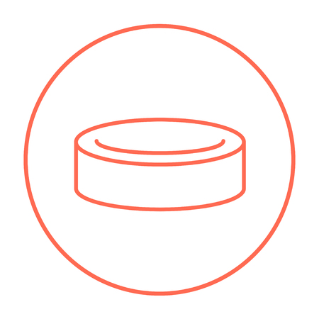 skating on thin ice: Hockey puck line icon for web, mobile and infographics. Vector red thin line icon in the circle isolated on white background.