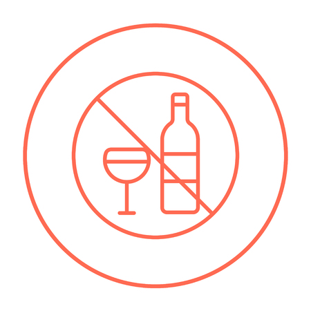 spirituous beverages: No alcohol sign line icon for web, mobile and infographics. Vector red thin line icon in the circle isolated on white background. Illustration