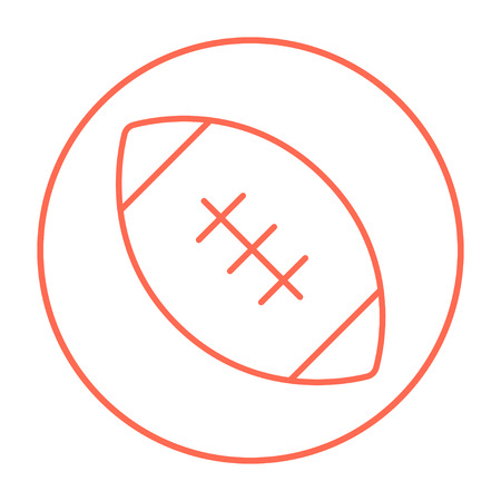Rugby football ball line icon for web, mobile and infographics. Vector red thin line icon in the circle isolated on white background.