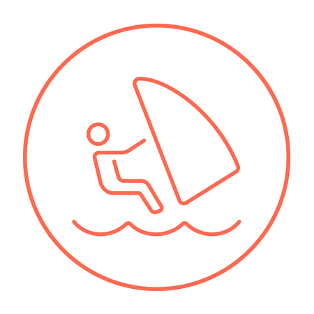 wind surfing: Wind surfing line icon for web, mobile and infographics. Vector red thin line icon in the circle isolated on white background.