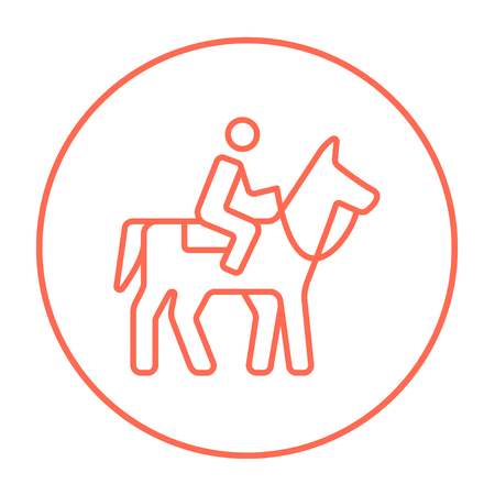 Horse riding line icon for web, mobile and infographics. Vector red thin line icon in the circle isolated on white background.