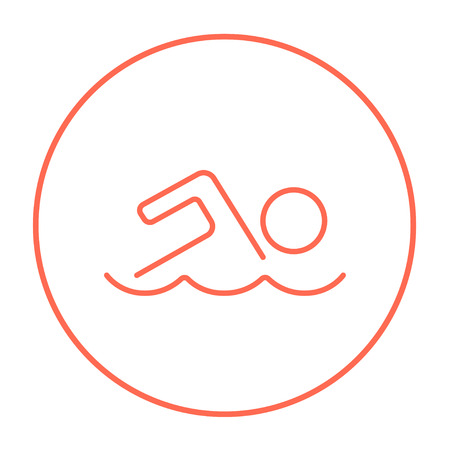Swimmer line icon for web, mobile and infographics. Vector red thin line icon in the circle isolated on white background.