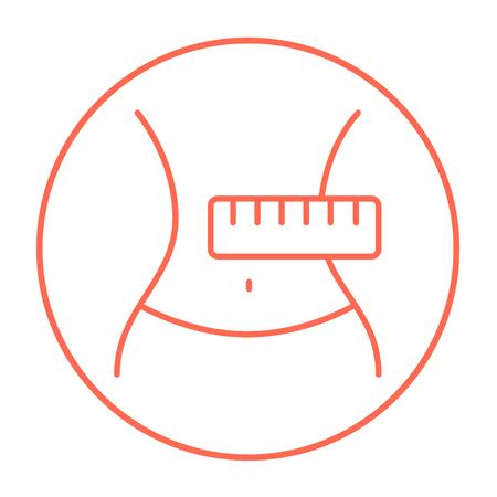 Mezzo con misurazione icona linea del nastro per il web, mobile e infografica. Vettore rosso sottile linea icona nel cerchio isolato su sfondo bianco.
