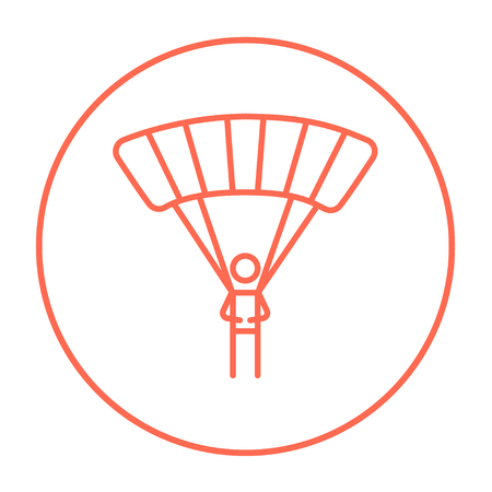 airplay: Skydiving line icon for web, mobile and infographics. Vector red thin line icon in the circle isolated on white background.