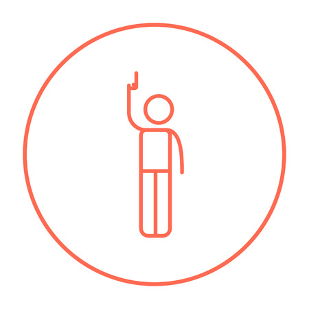 starting line: Man giving a signal with a starting gun line icon for web, mobile and infographics. Vector red thin line icon in the circle isolated on white background.