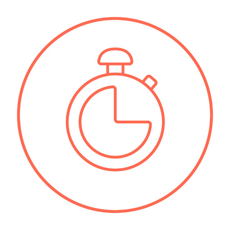 Stopwatch line icon for web, mobile and infographics. Vector red thin line icon in the circle isolated on white background.