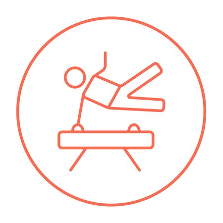 pommel: Gymnast exercising on the pommel horse line icon for web, mobile and infographics. Vector red thin line icon in the circle isolated on white background. Illustration