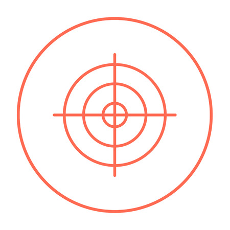shooting target: Shooting target line icon for web, mobile and infographics. Vector red thin line icon in the circle isolated on white background.