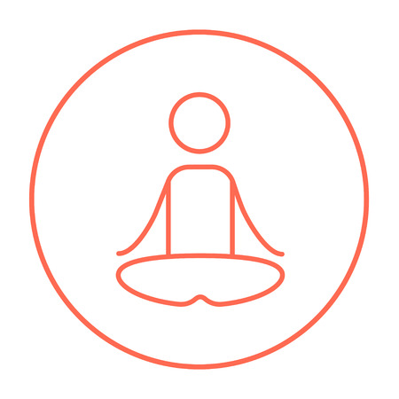 elasticity: A man meditating in lotus pose line icon for web, mobile and infographics. Vector red thin line icon in the circle isolated on white background. Illustration