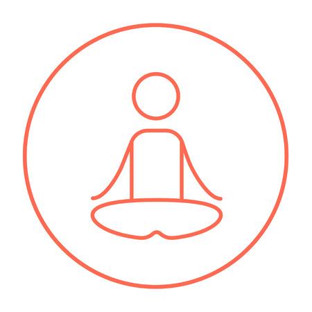 elasticidad: Un hombre meditando en posición de loto icono de línea para web, móvil y la infografía. Vector icono delgada línea roja en el círculo aislado en el fondo blanco.