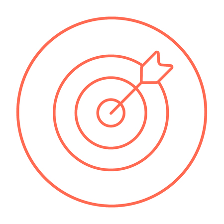Target board and arrow line icon for web, mobile and infographics. Vector red thin line icon in the circle isolated on white background.