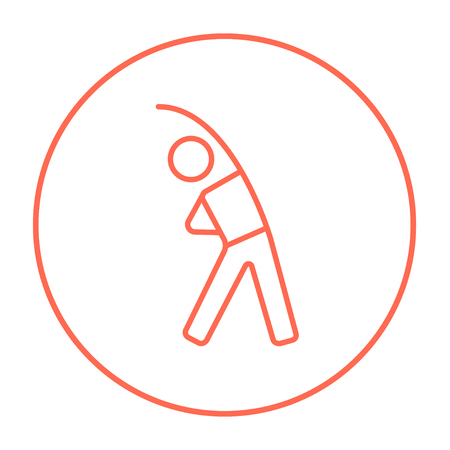 Man making exercises line icon for web, mobile and infographics. Vector red thin line icon in the circle isolated on white background.