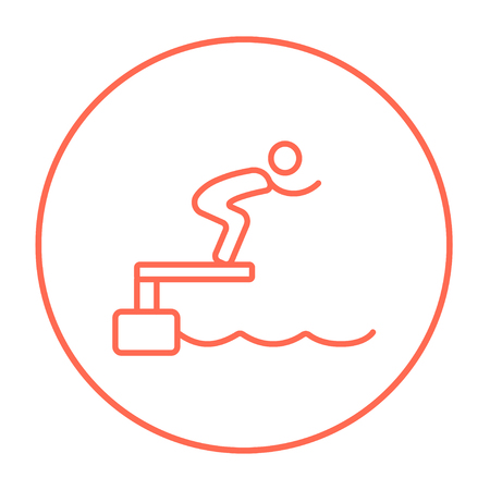 diving platform: Swimmer jumping from starting block in pool line icon for web, mobile and infographics. Vector red thin line icon in the circle isolated on white background.