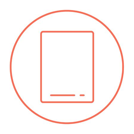 touch screen: Touch screen tablet line icon for web, mobile and infographics. Vector red thin line icon in the circle isolated on white background. Illustration
