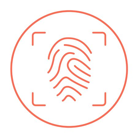 scanning: Fingerprint scanning line icon for web, mobile and infographics. Vector red thin line icon in the circle isolated on white background.