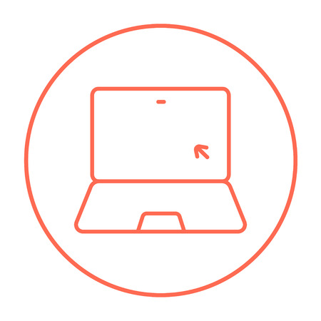 laptop screen: Laptop with cursor on a screen line icon for web, mobile and infographics. Vector red thin line icon in the circle isolated on white background. Illustration