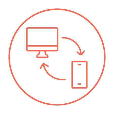 mobile device: Synchronization computer with mobile device line icon for web, mobile and infographics. Vector red thin line icon in the circle isolated on white background. Illustration