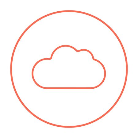 Cloud computing line icon for web, mobile and infographics. Vector red thin line icon in the circle isolated on white background.