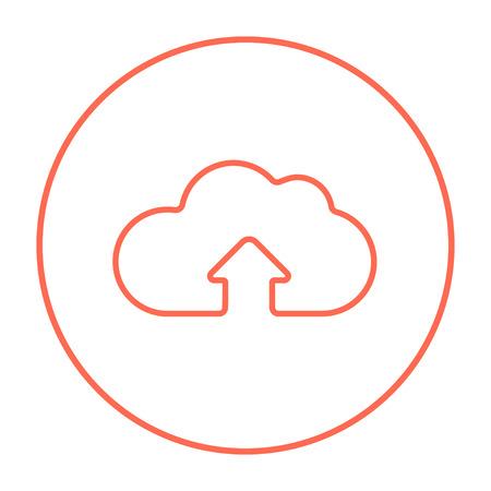 Wolke mit Pfeil herauf Linie Ikone für Netz, Mobile und infographics. Vector rote dünne Linie Ikone im Kreis, der auf weißem Hintergrund lokalisiert wird. Vektorgrafik