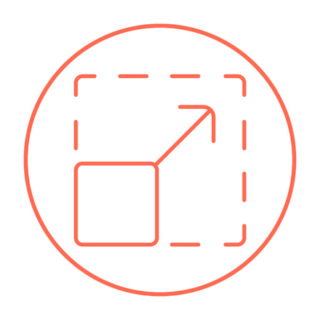 Scalability line icon for web, mobile and infographics. Vector red thin line icon in the circle isolated on white background.