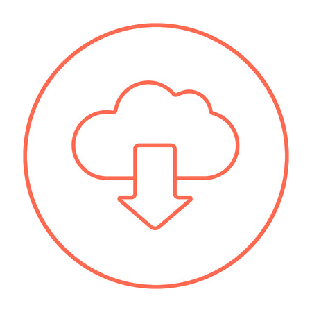 Cloud with arrow down line icon for web, mobile and infographics. Vector red thin line icon in the circle isolated on white background. Çizim