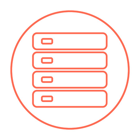 storage device: Computer server line icon for web, mobile and infographics. Vector red thin line icon in the circle isolated on white background. Illustration
