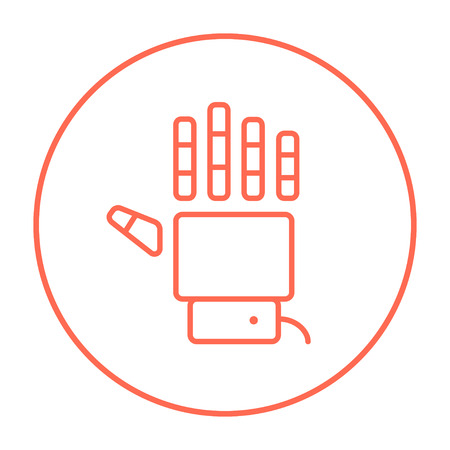 Robot hand line icon for web, mobile and infographics. Vector red thin line icon in the circle isolated on white background.