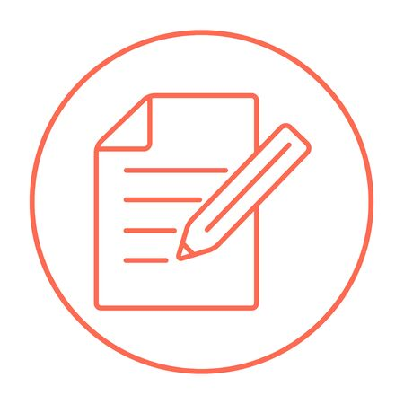 pen and paper: Sheet and pencil line icon for web, mobile and infographics. Vector red thin line icon in the circle isolated on white background.