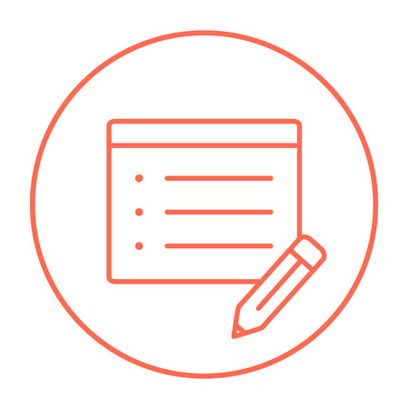 pen and paper: Notepad and pencil line icon for web, mobile and infographics. Vector red thin line icon in the circle isolated on white background.