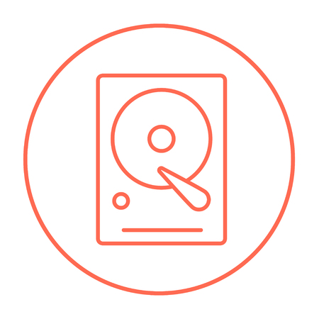 gigabyte: Hard disk line icon for web, mobile and infographics. Vector red thin line icon in the circle isolated on white background. Illustration