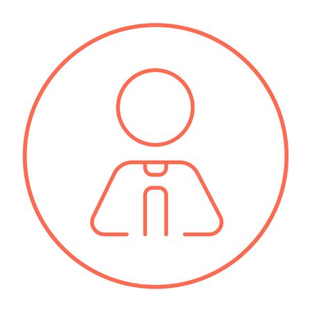 labourer: Businessman line icon for web, mobile and infographics. Vector red thin line icon in the circle isolated on white background. Illustration