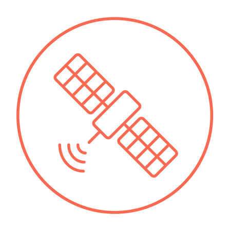 Satellite line icon for web, mobile and infographics. Vector red thin line icon in the circle isolated on white background.