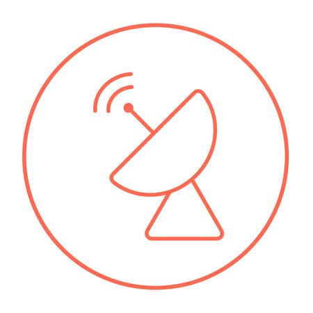 icona linea piatto radar satellitare per il web, mobile e infografica. Vettore rosso sottile linea icona nel cerchio isolato su sfondo bianco. Vettoriali