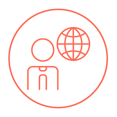 transnational: Man with globe line icon for web, mobile and infographics. Vector red thin line icon in the circle isolated on white background.