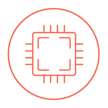 CPU line icon for web, mobile and infographics. Vector red thin line icon in the circle isolated on white background.