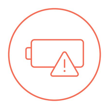 warning indicator: Empty battery line icon for web, mobile and infographics. Vector red thin line icon in the circle isolated on white background. Illustration