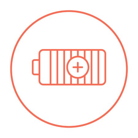 fully: Fully charged battery line icon for web, mobile and infographics. Vector red thin line icon in the circle isolated on white background.