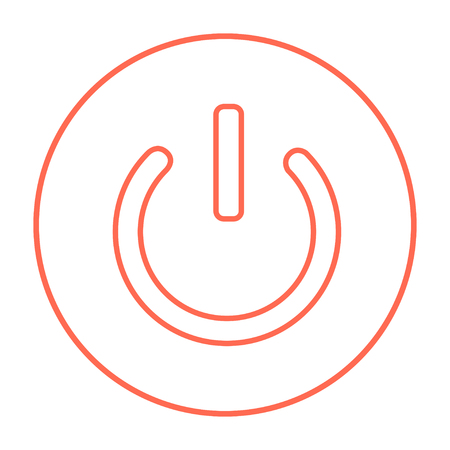 Power button line icon for web, mobile and infographics. Vector red thin line icon in the circle isolated on white background. Illustration