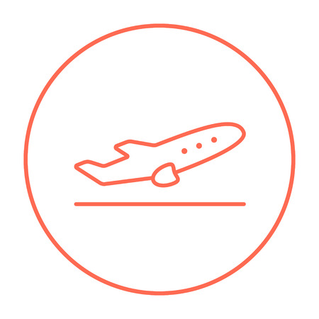 Plane taking off line icon for web, mobile and infographics. Vector red thin line icon in the circle isolated on white background. Vettoriali