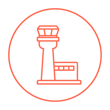 Flight control tower line icon for web, mobile and infographics. Vector red thin line icon in the circle isolated on white background.