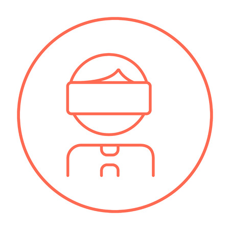 Man wearing virtual reality headset line icon for web, mobile and infographics. Vector red thin line icon in the circle isolated on white background.
