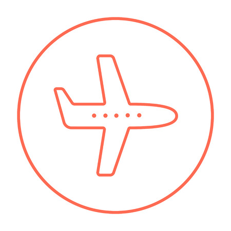 illuminator: Flying airplane line icon for web, mobile and infographics. Vector red thin line icon in the circle isolated on white background. Illustration