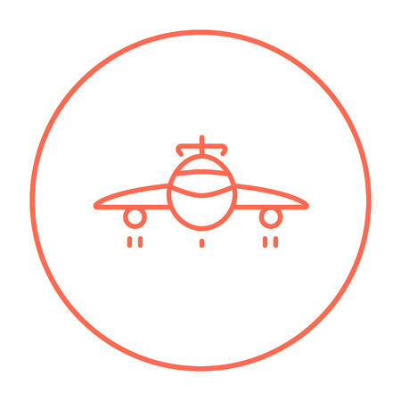 undercarriage: Airplane line icon for web, mobile and infographics. Vector red thin line icon in the circle isolated on white background.