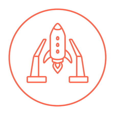 takeoff: Space shuttle on a take-off area line icon for web, mobile and infographics. Vector red thin line icon in the circle isolated on white background. Illustration